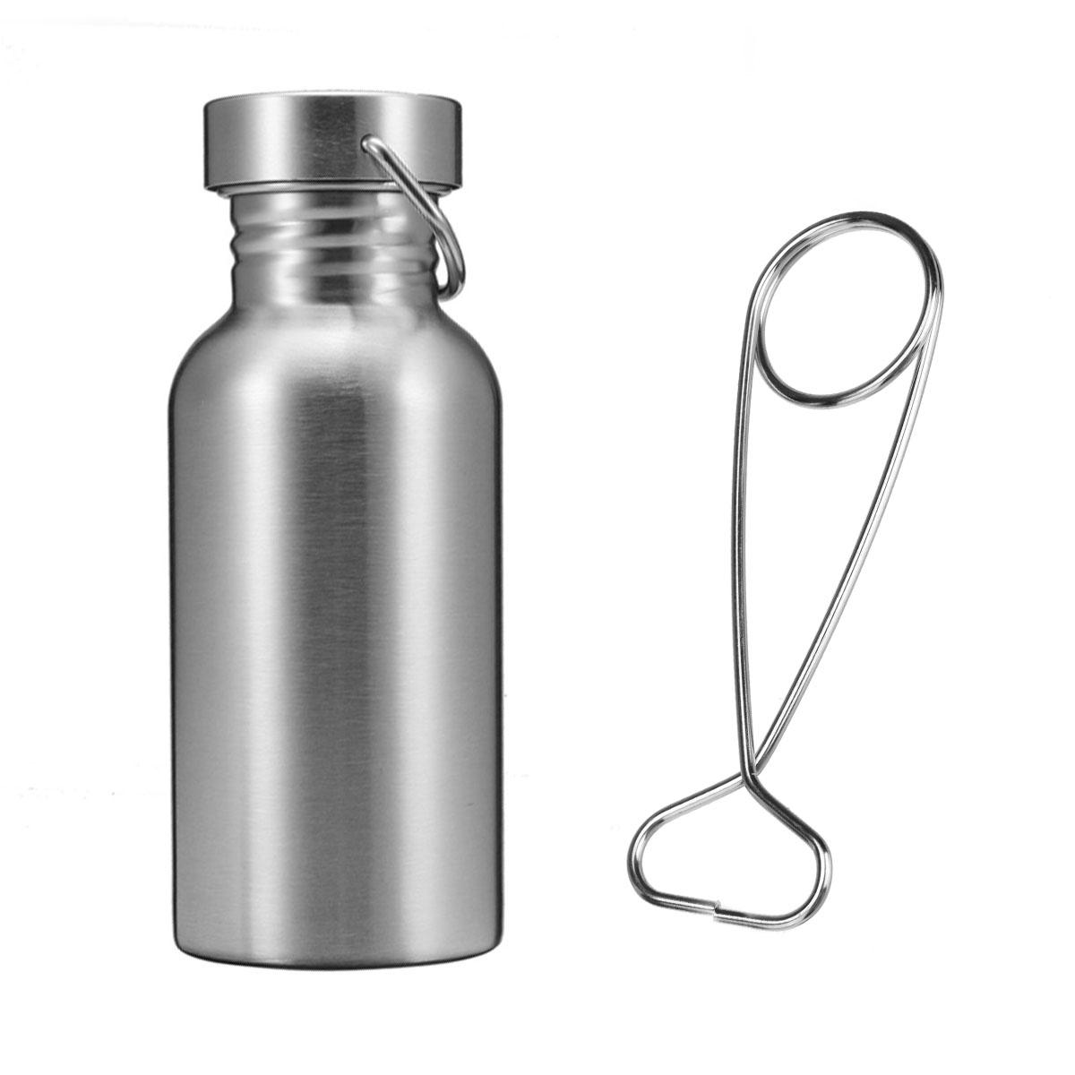 350/500/750ML Outdoor Stainless Steel Water Bottle Flask Wide Mouth Jar Leak-proof Outdoor Survival Cookware