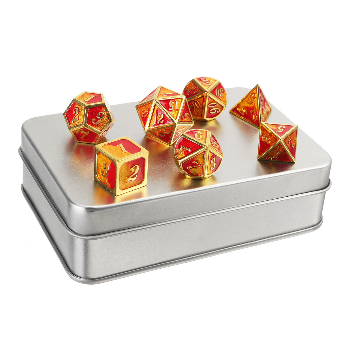 7PCS/SET Creative Metal Multi-faced Dice Set Heavy Duty Polyhedral Dices Role Playing Game Party Game Dice W/ Case