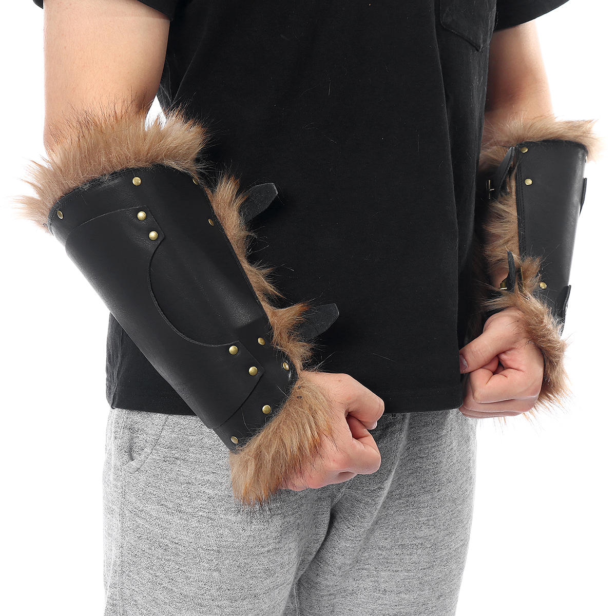 Leather Adjustable Arm Support Tactical Hand Armour Hunting Bracers