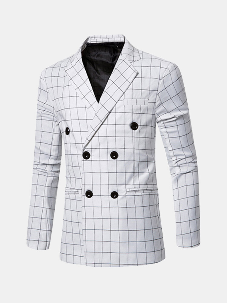 Mens Fashion Casual Plaid Double-breasted Blazers Suit Jacket