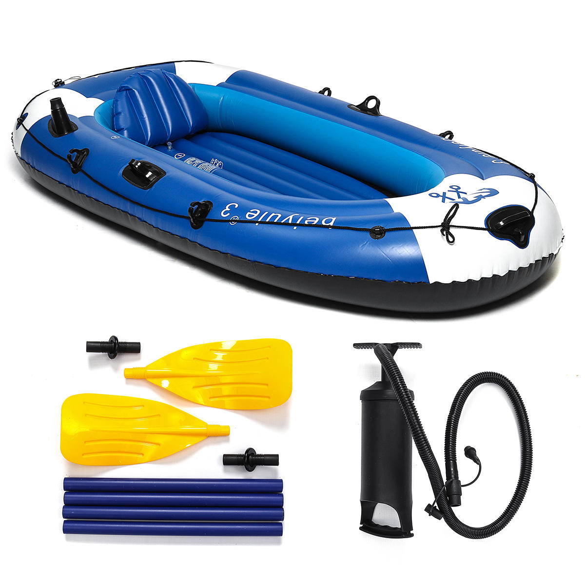 225x127cm 3 Person Inflatable Rowing Boat Bearing 210kg PVC Rubber Fishing with Paddles Pump