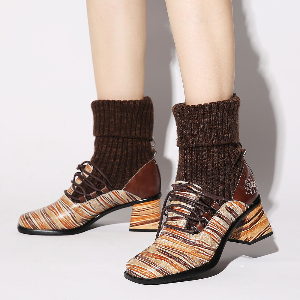 SOCOFY Women Retro Stripes Genuine Leather Splicing High Heel Ankle Boots