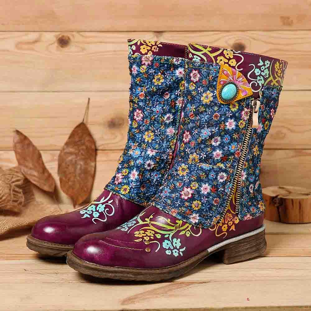 Socofy Women Retro Genuine Leather  Flowers Pattern Stitching Zipper Ankle Boots