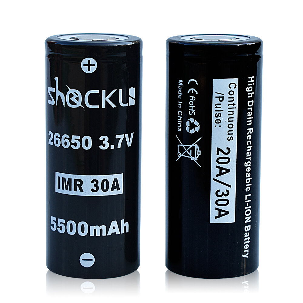 2PCS Shockli IMR 26650 3.7V 5500mah 30A Discharge Rechargeable Li-ion Battery-Flat top