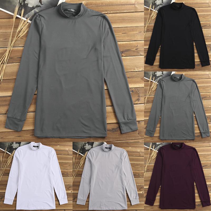 Mens T-shirt de roupa interior térmica Manga comprida Gola alta sob camisas Tops de camada de base