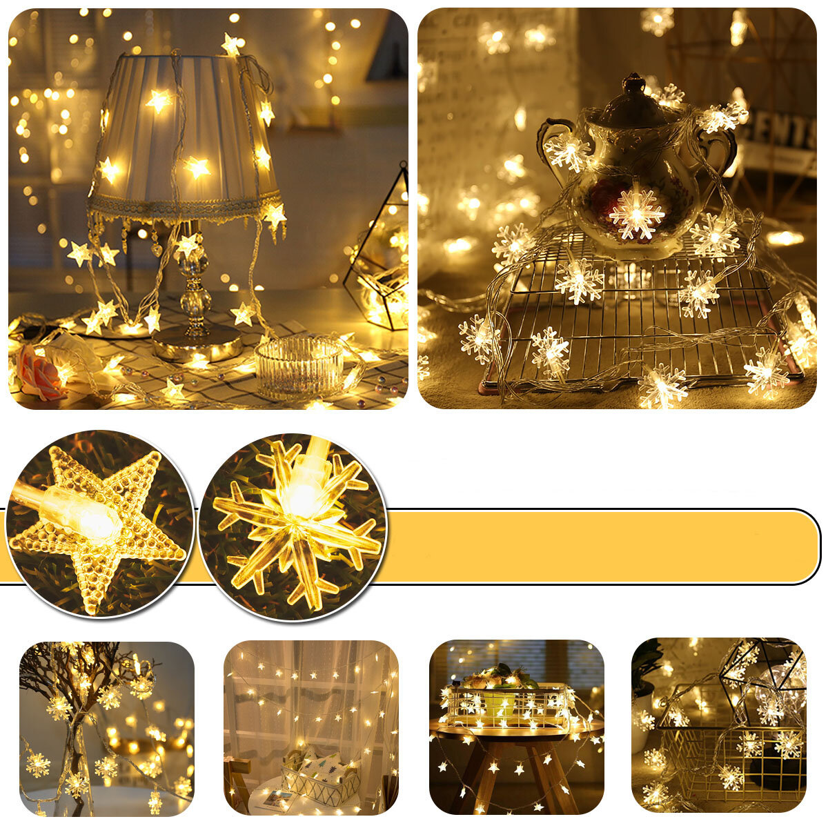 Battery Powered 2M 3M 5M 6M 10M Snow Flower Fairy Garland LED String Light for Wedding Party Decor
