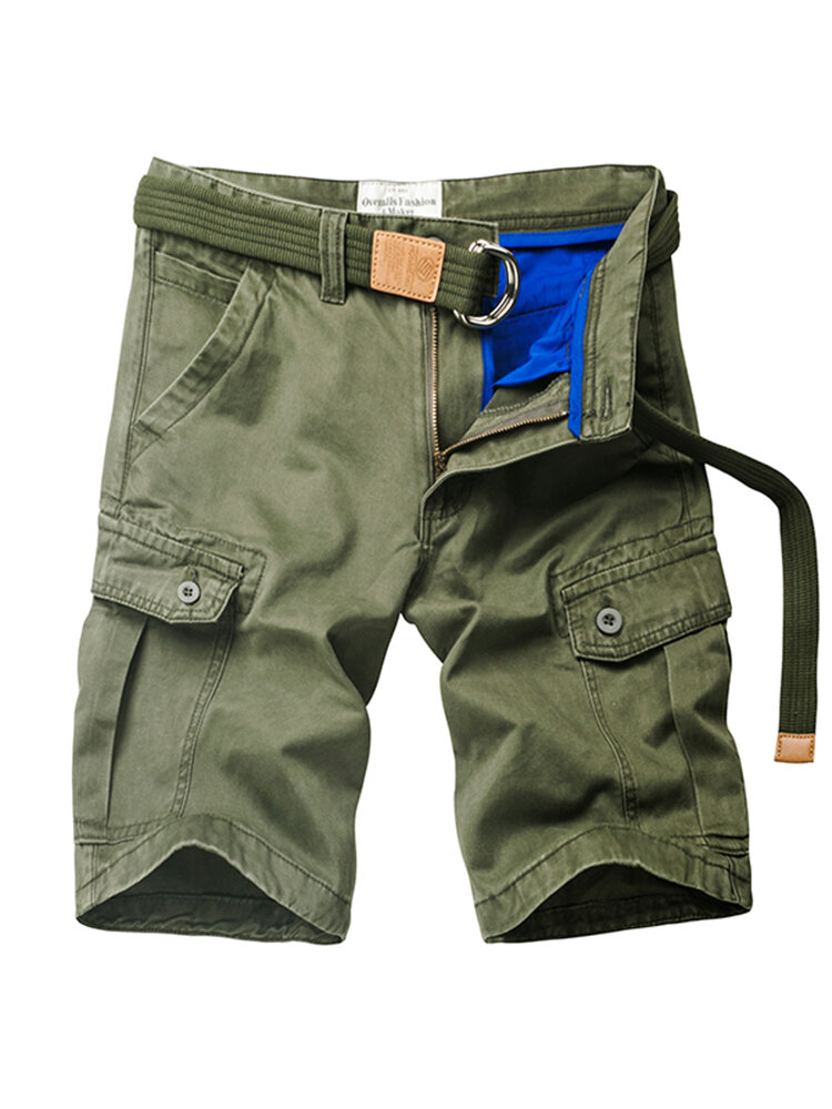 Mens Summer Outdoor Solid Color Multi-pocket Knee Length Beach Shorts Casual Cargo Shortss