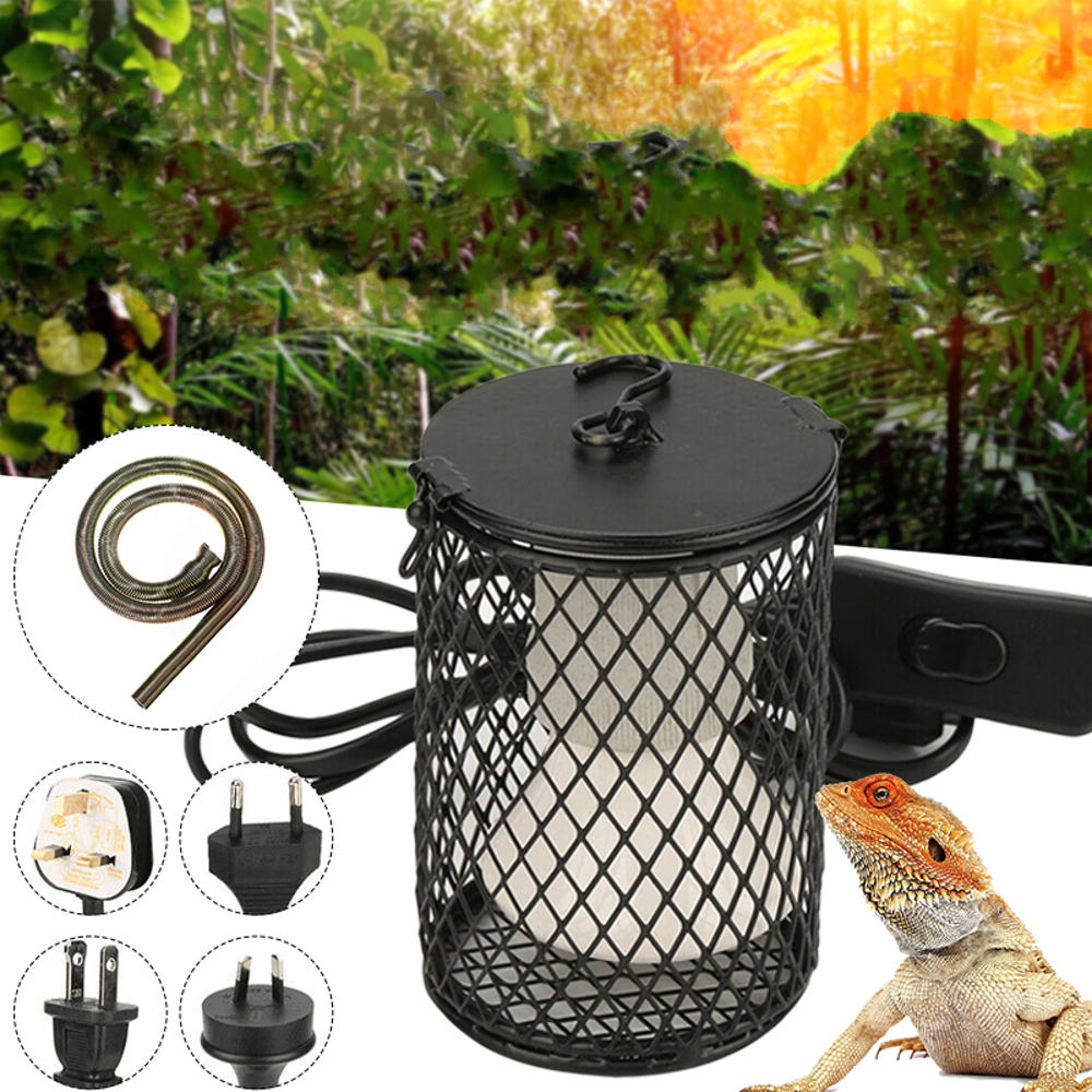 Anti-scald Heat Ceramic E27 Lamp Cover Holder with Light Switch Cage Reptile Snake Chicken Brooder