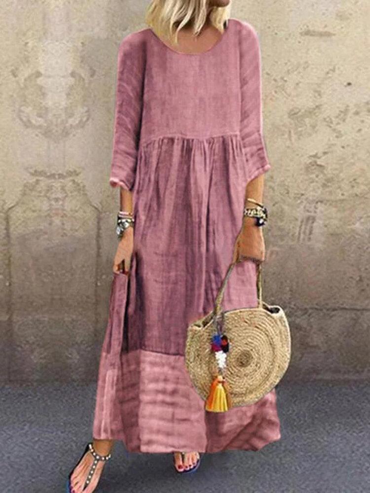 Kadın 3/4 Kol O-Boyun Dikiş Uzun Kollu Vintage Maxi Elbise