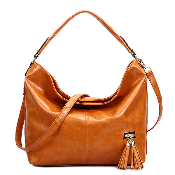 Oil Leather Tassel Women Tote Bag Casual Retro Hobos Bag