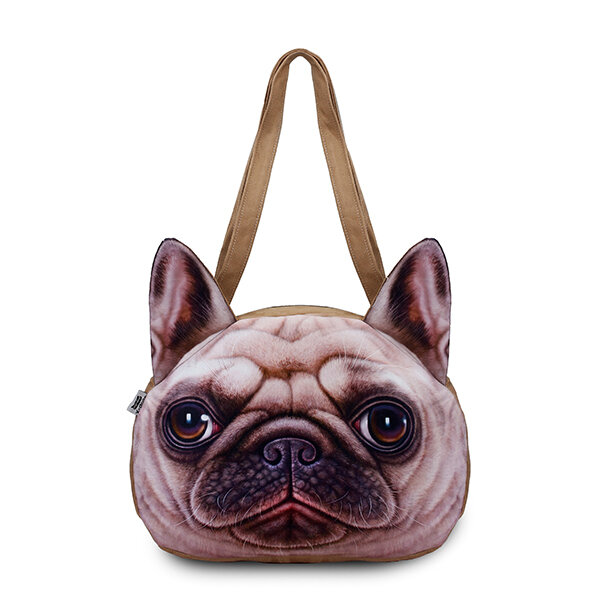 Women Cute Dog Head Shoulder Bags Casual 3D Animal Print Handbags Shopping Bags