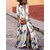 Mulheres Partido Evening V Neck manga curta Floral Impresso Long Maxi Dress