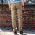 Outdoor Large Multi Pocket Cotton Overalls Men's Solid Color Casual Cotton Pants