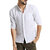 Mens Cotton 3/4 Sleeve Missing Buttons Band Collar Shirts