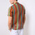 Mens Colorful Striped Printed Chest Pocket Vintage Loose Lightweight Shirts