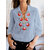 Bohemian Women 3/4 Sleeve Retro Floral Print Casual Blouse