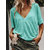 Women Casual Loose V Neck Half Sleeve Solid Color T-shirts
