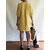 Women Casual V Neck Loose Cotton Linen Solid Tunic Dress