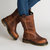 Large Size Round Toe Slip On Vintage Mid Calf Boots
