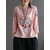 Embroidery O-neck Plate Buckle Long Sleeve Blouse