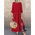 Vintage Women Patchwork Crew Neck Long Sleeve Maxi Dress