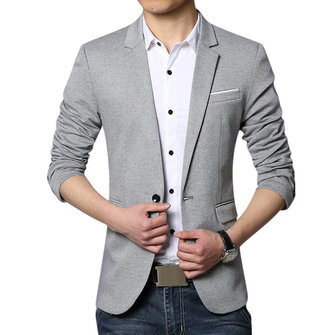 Fashion Casual Slits One Button Slim Fit Chic Men Suit Jacket Blazers