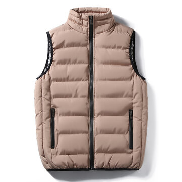 Mens Stand Collar Thick Warm Down Cotton Padded Casual Vest Coat