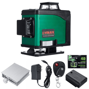 4D 16 Lines Laser Level Green Light Auto Self Leveling 360° Rotary Cross Measure