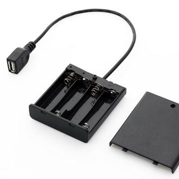 Fuente de alimentación portátil Mini USB Batería Caja para 5050 3528 LED Luz de tira DC5V