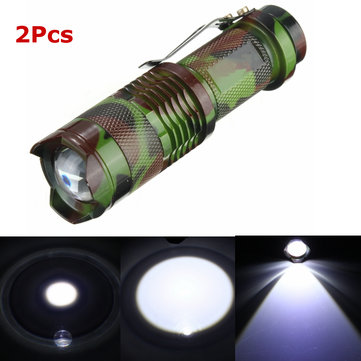 2Pcs Camuflagem MECO Q5 500LM Multicolor Zoomable Mini LED Lanterna 14500 / AA