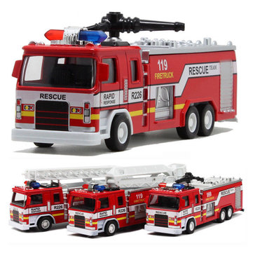 Alloy Construction Vehicles Pullback Fire Model Truck With Soud Light For Kids Gift Cars Toys