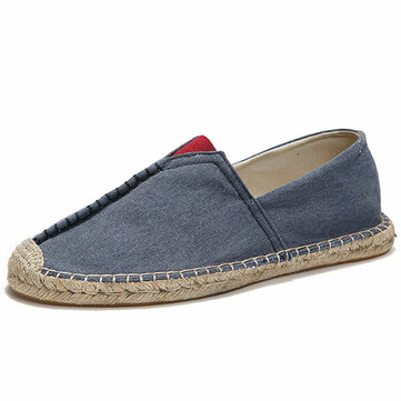 Men Casual Hand Stitching Canvas Espadrille Loafers Flats