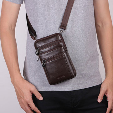 Business Casual Genuine Leather Multi-functional 7 Inch Phone Bag Waist Bag Crossbody Bag For Men