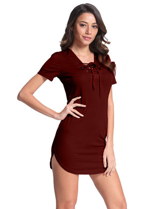 Sexy Women V-Neck Lace Up Pure Color Short Sleeve T-shirts