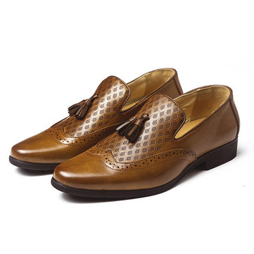 Men Brogue Carved Stylish Breathable Slip On Business Leather Oxfords