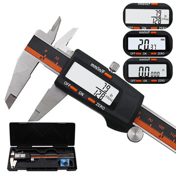 DANIU 150mm Stainless Steel Layar LCD Display Digital Caliper 6 Inch Fraksi / MM / Inch Presisi Tinggi Stainless Steel LCD Vernier Caliper