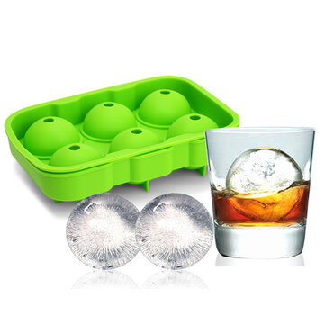 KCASA KC-IT02 6 Holes Large Ball Shape Silicone Ice Cube Sphere Whiskey Cocktail Ice Mould Tray