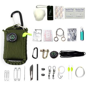 IPRee®24 In 1 EDCマルチツールキットアウトドアタクティカルキャンプサバイバル緊急バッグ