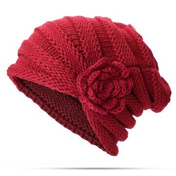 Women Flexible Flower Slouch Knit Hat Winter Warm Earmuffs Beanie Cap Good Elastic