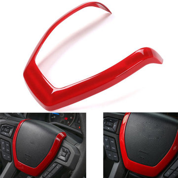 Red Car Steering Wheel Panel Decoration Sticker Garnish Cover Trim for Ford F150 2015-2017