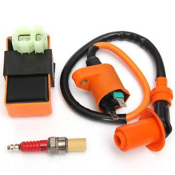 Катушка зажигания + Гоночный CDI Box + Spark Штекер для GY6 50 125 150cc Мопед Скутер ATV Go Carts