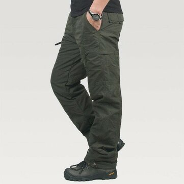 Mens Thick Soft Loose Winter Polar Fleece Windproof Zipper Pockets Cargo Pants