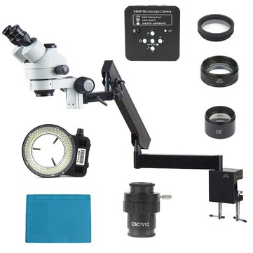 3.5X - 90X Articulating Arm Pillar Clamp Zoom Simul Focal Trinocular Stereo Microscope + 34MP Video Camera For Industrial PCB