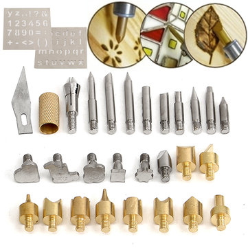 28Pcs Wood Burning saldatura Saldare Utensili Kit Kit con 2Pcs Stencil