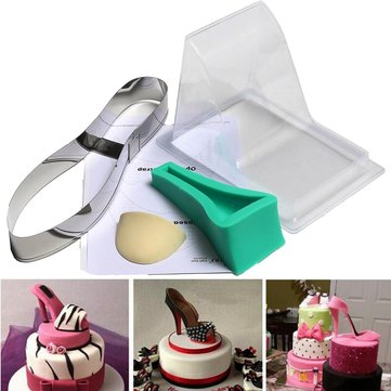 High Heel Shoe Kit Pan Silicone Fondant Mould Wedding Cake Decorating Template Mold