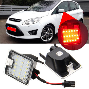 LED Under Side Mirror Puddle Light Red per Ford Mondeo MK4 Focus Kuga Escape C-Max