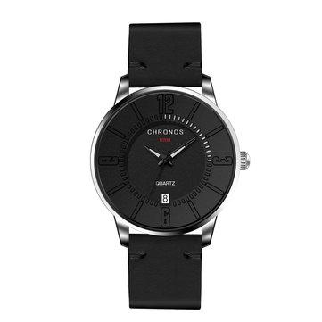 CHRONOS Casual Style Date Display Men Wrist Watch Colorful Lederen band quartz horloges
