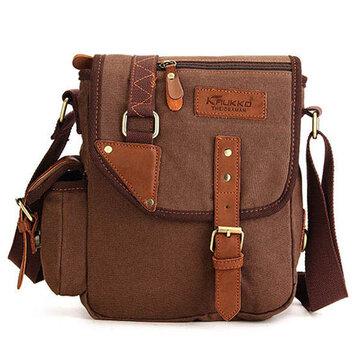 KAUKKO Men Canvas Simple Designer Messenger Bags Multifunction Casual Travel Crossbody Bag