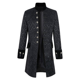 Mens Jacquard Mid-long monopetto giacca stand collo autunno trench coat