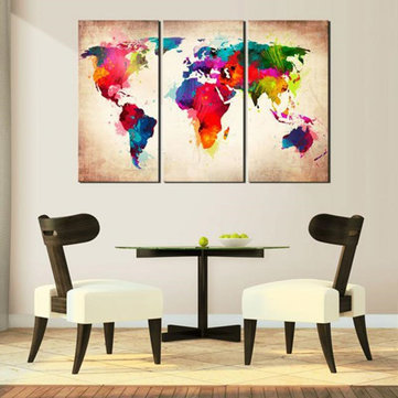 3 Stuks Abtract Wereldkaart Doek Schilderijen Wall Art Picture Decor Unframed Home Decorations
